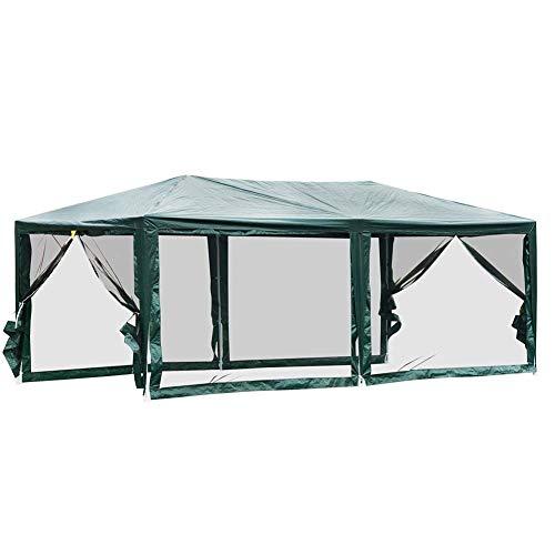 10'x20' Gazebo Canopy Tent, Gazebo Mosquito Netting Screen Walls with 4 Removable Mesh Side Walls
