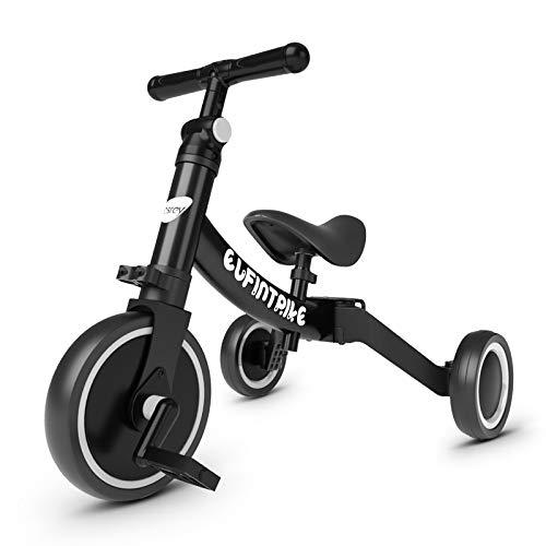 besrey Tricicli 5 in 1 Triciclo per Bambini / Triciclo Senza Pedali/ Bicicletta Senza Pedali,Nero,per Bambini da 1.5-4 Anni