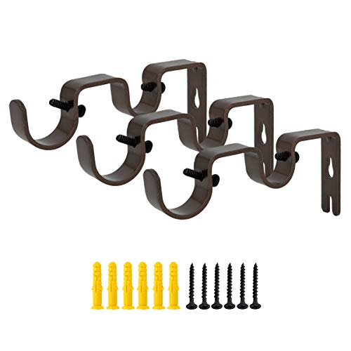 """OVOV Double Curtain Rod Brackets for Curtain Rod Heavy Duty Curtain Rod Holders (Brown) for 1""""&5/8"""" 3 Pack"""