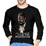 DanaMWatson Meek Mill Mens Long Sleeve T Shirt Fashion Round Neck Tops Long Sleeve Cotton Tee L Black