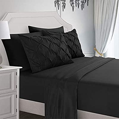 RevenRella 6 Piece Sheet Sets Double Brushed Super Soft 1800 Microfiber Deep Pocket Stain-Resistant Wrinkle Free 1 Fitted Sheet,1 Flat Sheet,2 Pillowcases,2 Pinch Pleated Pillow Shams (Black, King)