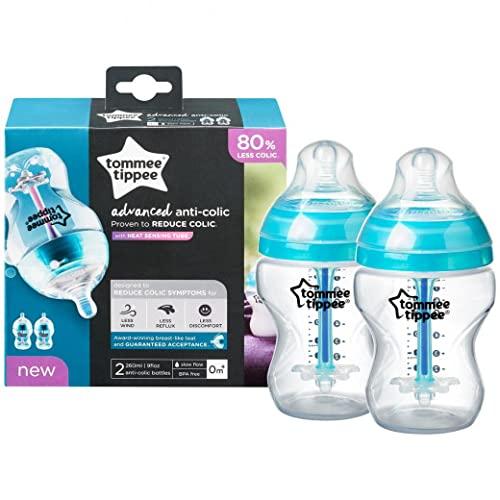 SRV Hub® 2 biberones anticólicos de 260 ml, tetinas similares a los senos, cierre natural, tira de detección de calor, síntomas de cólicos reducidos del bebé, sin BPA, 0+meses