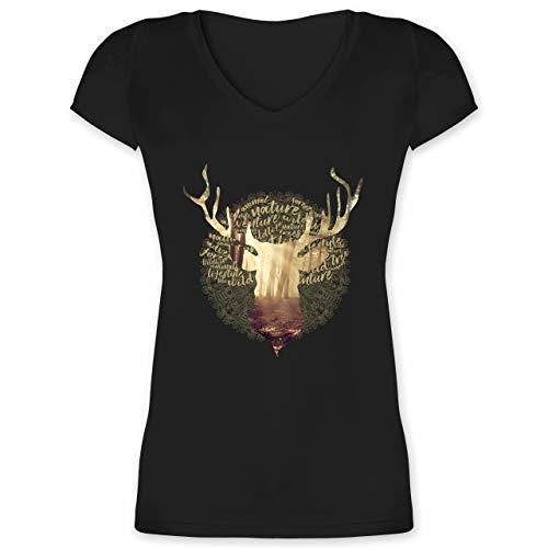 Oktoberfest Damen - Hirsch - L - Schwarz - Trachten v-Shirt Damen - XO1525 - Damen T-Shirt mit V-Ausschnitt