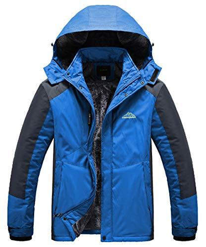 Heihuohua Men's Mountain Waterproof Ski Jacket Windproof Snow Fleece Rain Jacket (XX-Large, Blue-888)