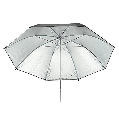 Aexit 33\' \'84cm paraguas de reflector de plata negro para estudio de fotografía (model: T8744VIX-6555UY) Flash de luz