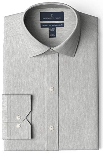 Amazon Brand - Buttoned Down Men's Tailored Fit Spread Collar Solid Non-Iron Dress Shirt Medium Grey Heather 16' Neck 35' Sleeve