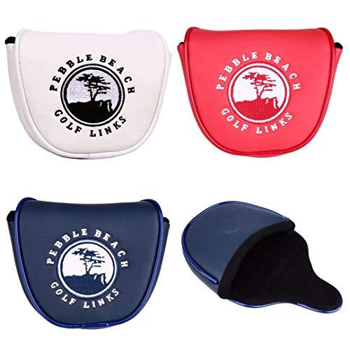 パターカバー ヘッドカバー オデッセイ 2ボールに対応 マレット用 マグネットタイプ 紺 白 赤 (白)