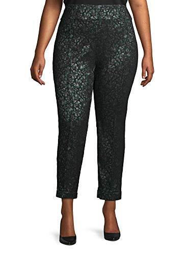 Lord & Taylor Floral-Print Seam Pants Plus Size 18W Black Green Gold