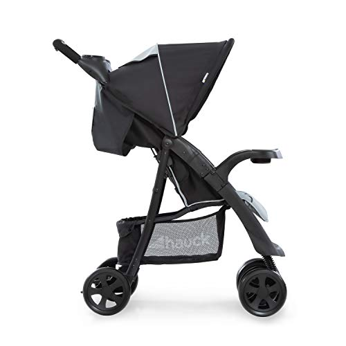 Hauck Shopper Neo II - Silla de paseo con respaldo reclinable, de 0 meses a 25 kg, plegado fácil y compacto, plegable con una mano, ligera, con botellero, negro gris