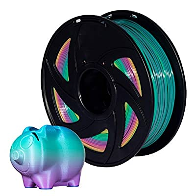 PLA Filaments Multicolor 1.75mm 3D Printer Filaments Rainbow, 1kg(2.2lbs) Pack of 1 XVICO