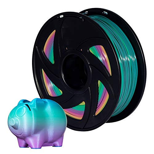 powerful Multicolor PLA 3D Printer Filament 1.75 mm, Rainbow, 1 kg (XVICO Pack)
