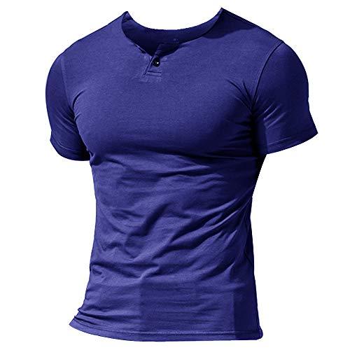 Herren Henley Beiläufig Kurzarm T-Shirt Single Taste Knopfleiste Einfacher V-Ausschnitt Hemden Baumwolle Color Dunkelblau Size Small