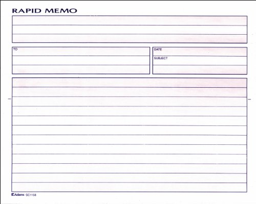 Adams Rapid Memo Book, 8.25 x 8.5 Inch, 2-Part, Carbonless, 50 Sets, 1 Memo per Page, White and Canary (SC1158), White/Canary