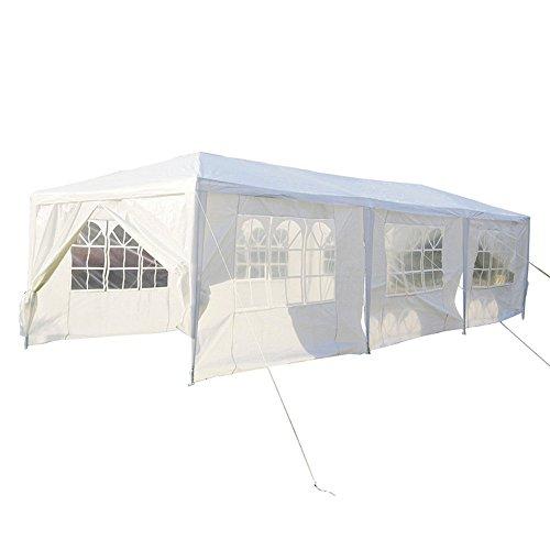 SAILUN® 3 x 9 m Weiß Gartenpavillon Gartenzelt Bierzelt Pavillon, Wasserdicht PE Plane, inklusive 8 Seitenwände, 6 x Fenster, 2 x Tür mit Reisverschluss