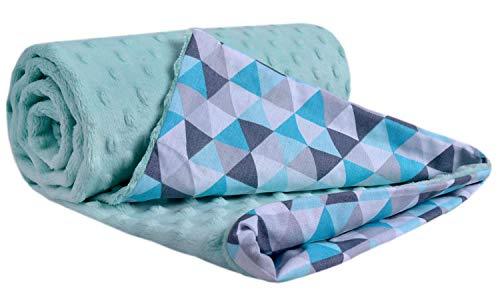 Krabbeldecke 100% Baumwolle 75x100cm doppelseitig multifunktional Minky Kuscheldecke für Kinderwagen weich flauschig (minze Dreiecke mint minzer Minky)
