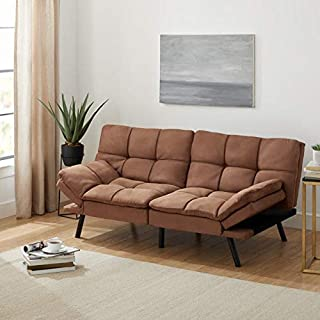 Mainstay.. Memory Foam Futon, Black Suede, Fabric, Wood, Metal