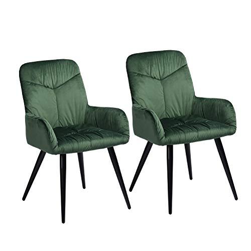 Mueble Cosy – Juego de 2 sillas de Comedor escandinavas – Sillón de salón de Terciopelo y Patas de Metal Verde, 56 x 60 x 88,5 cm