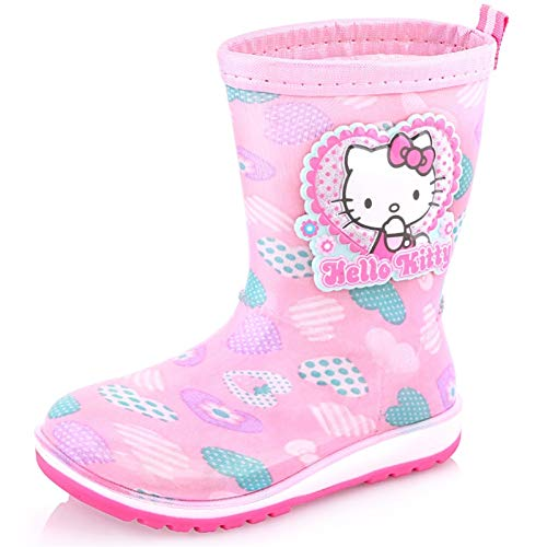 Zhongxingenggeng Hello Kitty Kinder Regenstiefel Mädchen Vier Jahreszeiten Anti-Rutsch Gummistiefel im Big Kinder Tube Wasserschuhe Kinder Baby Regenschuhe, Rose, 31 Yards