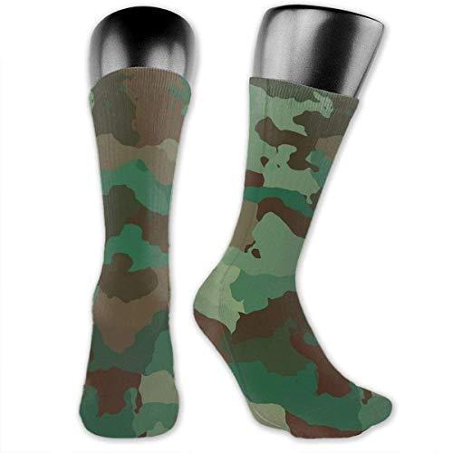 Uosliks Green Army Camouflage Unisex Classic Print Casual Athletic Socks Crew Sock Running Socks For Man And Women
