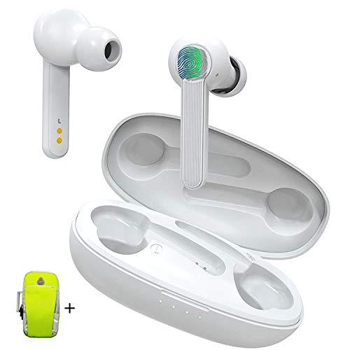 TWS Auriculares Bluetooth 5.0 Control Tactil con Brazalete Deportivo Duoker Cascos Inalámbricos con Caja de Mini Carga Portátil Sonido de Alta Definición, IPX6, para iPhone Android - Blanco