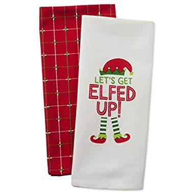 DII Cotton Christmas Holiday Dish Towels, 18x28  Set of 2, Decorative Oversized Kitchen Towels, Perfect Home and Kitchen Gift-Elfed Up