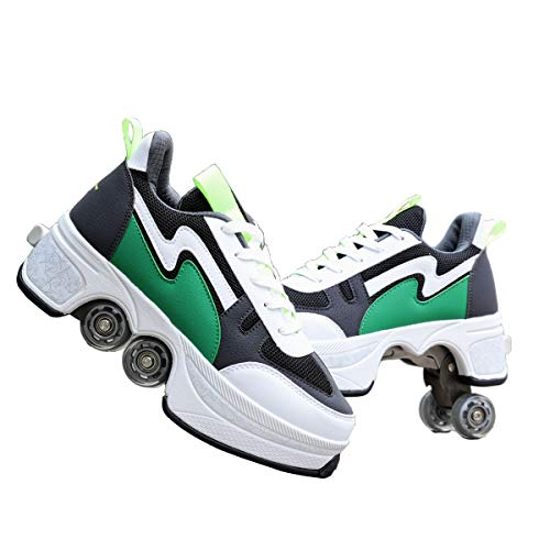 ZHANGJUN Patín En Línea, Patines De Ruedas Ajustables 2-en-1 Zapatos Multiusos, Zapatillas De Zapatos De Moda, para Niños Niños Niñas,Green-42