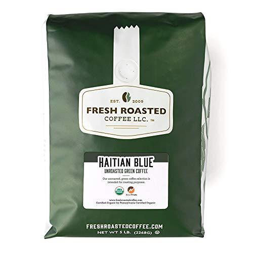 Fresh Roasted Coffee, Unroasted Organic Haitian Blue, Kosher, 5 Pound