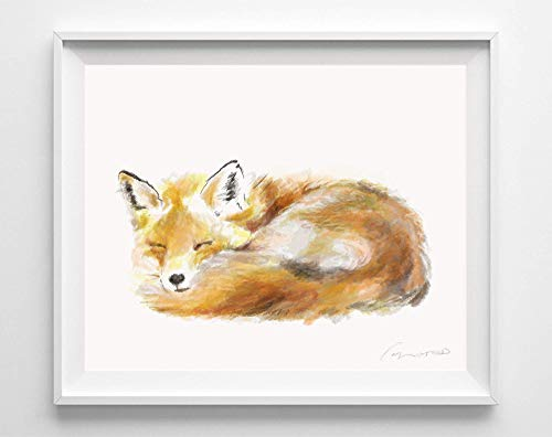 Fox Watercolor Art Print, Original Watercolor Painting, For Newborn Baby Nursery Room,Signed By Artist