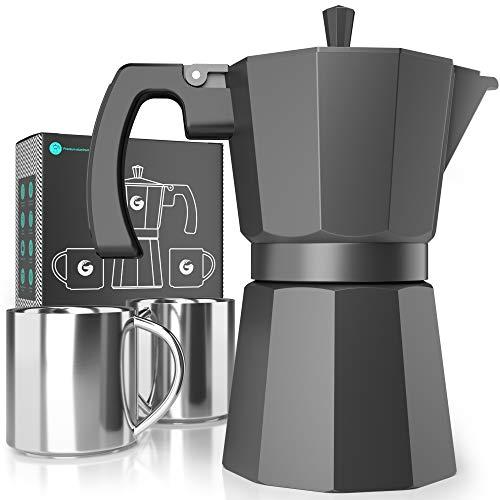 Coffee Gator-Espresso-Moka-Kanne – Induktionsfreundlicher, schneller Kochfeld-Kaffeekocher – 2 Edelstahlbecher inkl. – 350 ml / 6 Tassen Brühkapazität