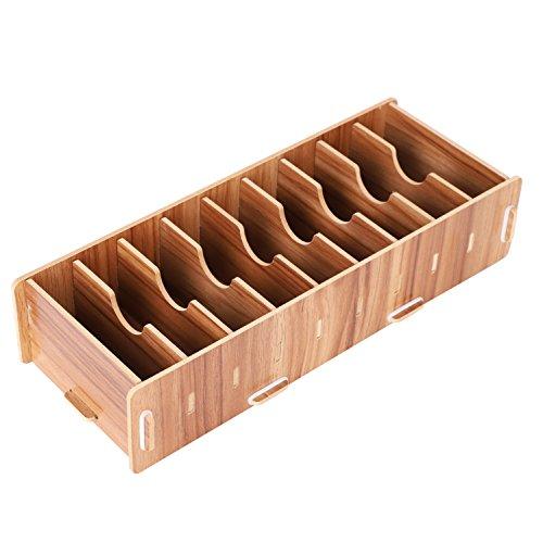 名刺ケース カードケース 8仕切り 木製 卓上収納ラック ロング型 名刺ホルダー めいし 整理箱 オフィス デスクオーガナイザー 机上 小物 ストレージ ボックス 組み立て式 多機能 大容量 収納ラック おしゃれ 文房具 事務用品 木目
