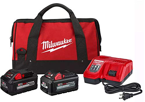 Milwaukee Tool 48-59-1880RCC M18 18V High Output Starter Kit with (1) 8.0 Ah, Battery (1) 6.0 Ah Battery, Rapid Charger & Bag