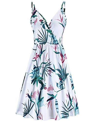 STYLEWORD Women's V Neck Floral Spaghetti Strap Summer Casual Swing Dress with Pocket(Floral07,S)