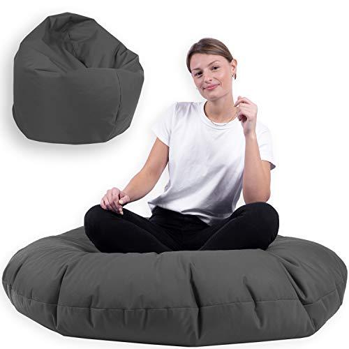 Sitzsack 2 in 1 mit Füllung Indoor Outdoor Sitzkissen 3 Größen Yoga Kissen BeanBag (125cm Durchmesser, Anthrazit)