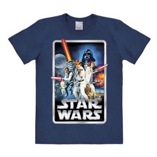 Logoshirt Camiseta La Guerra de Las Galaxias - Póster - Camiseta Star Wars - Poster - Camiseta con Cuello Redondo Azul Oscuro - Diseño Original con Licencia, Talla M