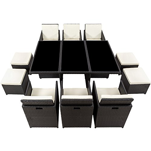 TecTake Poly Rattan Aluminium Gartengarnitur Sitzgruppe 6+1+4, Edelstahlschrauben - Diverse Farben - (Schwarz | Nr. 401454) - 7