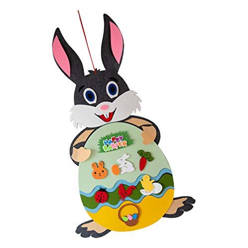 SOIMISS Coniglietto in feltro da appendere fai da te, in feltro, coniglietto pasquale, decorazione da parete, colore grigio