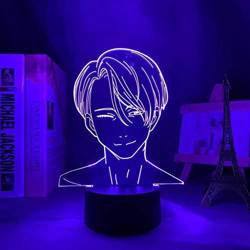 Yuri on Ice Victor Nikiforov llevó la luz de la noche para la decoración del dormitorio luz de la noche regalo de cumpleaños anime 3D lámpara Victor Yuri sobre hielo 16 color con control remoto