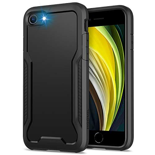 HOOMIL Cover per iPhone SE 2020, Cover per iPhone 8/7, Anticaduta Antiurto Custodia per iPhone SE 2020/8/7 Cover (4.7 Pollici), Caso Protettiva in Silicone TPU Bumper Case - Nero