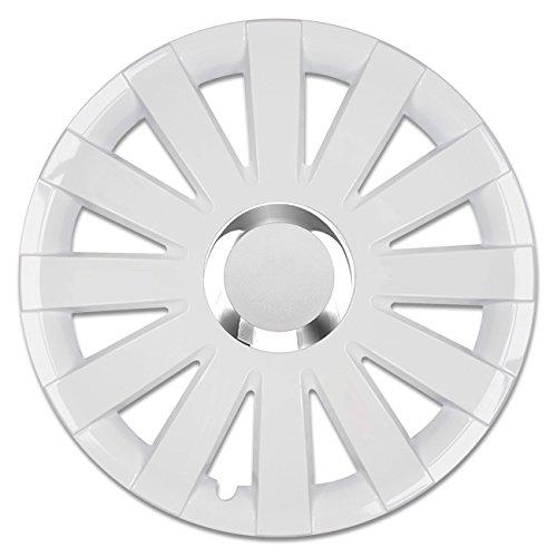 Autoteppich Stylers @@ (Größe wählbar) 15 Zoll Radkappen/Radzierblenden Onyx Weiss passend für Fast alle Fahrzeugtypen – universal