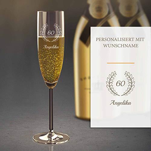 Sektglas Personalisiert mit Gravur (60. Geburtstag) | Edles Sekt-Glas mit Namen | Personalisierte individuelle Geschenkidee | Geeignet für Champagner & Sekt
