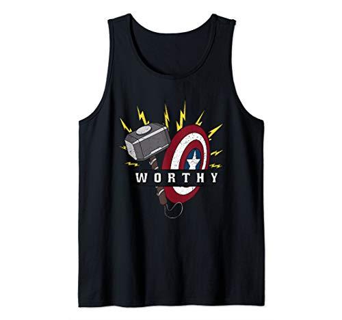 Marvel Avengers Endgame Captain America Worthy Hammer Shield Tank Top