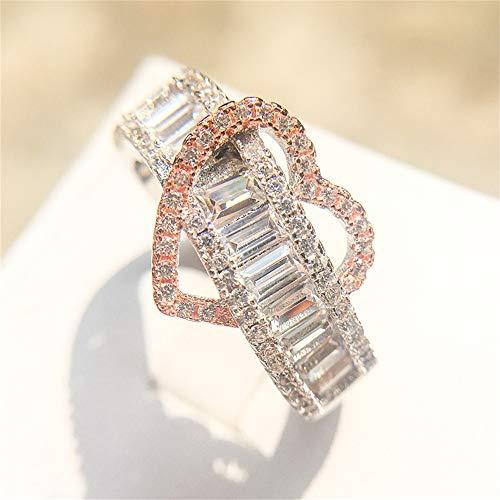 925 Sterling Silver Shiny Full Diamond Ring 18K Rose Gold Heart-Shaped Cubic Zirconia Rings CZ Heart Diamond Ring Eternity Engagement Wedding Band Ring for Women TZ.5 (US Code 9)