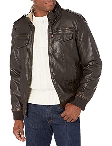Levi's Men's Faux Leather Sherpa Aviator Bomber Jacket, Vintage Brown, Large