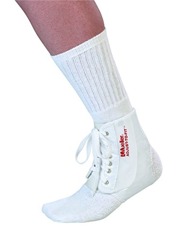 MUELLER Sports Medicine Adjust-to-Fit Ankle Brace, White, One Size