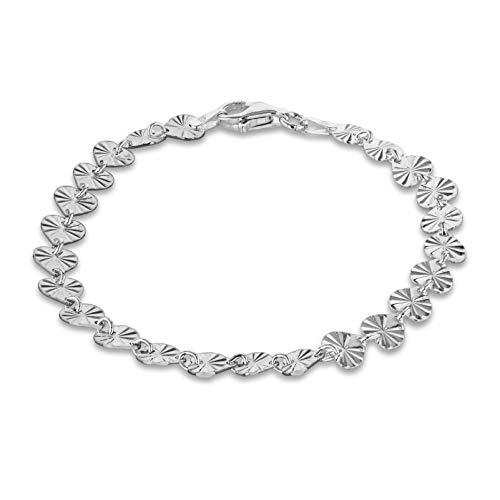 Tuscany Silver Pulsera para Mujer en Plata, Corazones con Rayos de Sol - 18cm