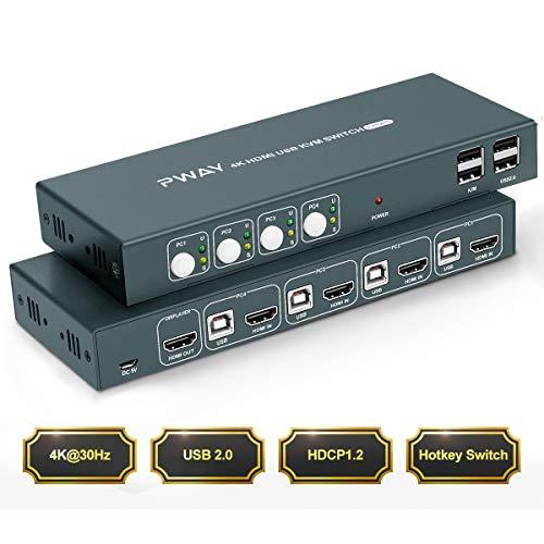 HDMI KVM Switch USB 4 Port 4K,4 PC 1 Monitor Switch,4K @ 30Hz,4 In 1 Out,Hotkey Switch,HDCP1.2,Ultra HD,YUV 4: 4: 4,Mit Kabel,Kompatibel mit Mehreren Systemen und Geräten
