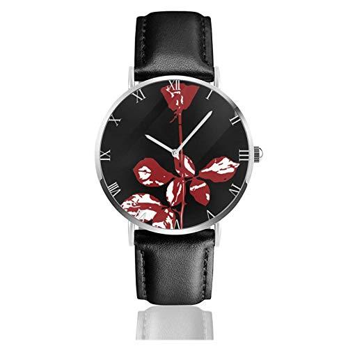 Armbanduhr Analog Quarz Ultra Dünn Business PU Leder Band Uhren dm-Violator Depeche-Mode