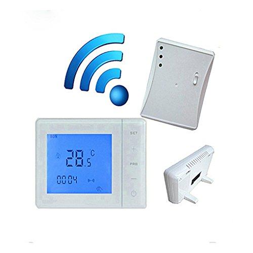 Termostato inalámbrico de gas 433 MHZ con control de radiofrecuencia 5A para caldera de pared, termostato de calefacción, controlador de temperatura digital LCD