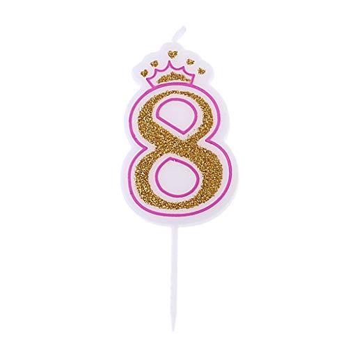 Fewxdsad - Velas de cumpleaños con Corona Rosa Brillante para niños, número de Fiesta de cumpleaños, decoración de Tartas, número 8