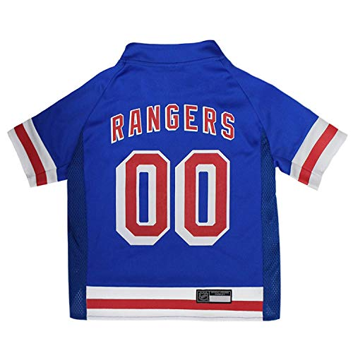 NHL New York Rangers Jersey for Dogs & Cats, X-Small. - Let Your Pet Be A Real NHL Fan!